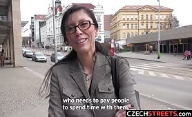 Czech milf secretary picked up and fucked in public