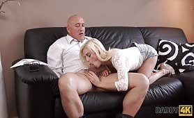 Bald daddy stretches divine blonde Candee Licious on couch