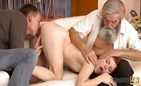 Vanessa Shelby - Chick's shaved pussy is fingered by old man and son in turn