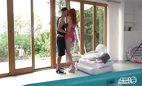 Seductive Russian redhead stepmother Eva Berger fucks stepson by the pool
