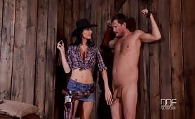 Wild West - Dominant Sheriff Jasmine Jae Interrogates Defenseless Prisoner