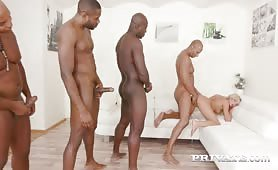 Horny Blonde Victoria Pure Takes on Four Black Stallions