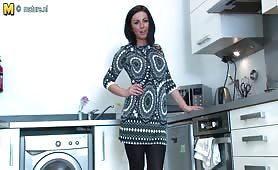 Hot British mom Roxanne Cox getting naughty in the kitchen