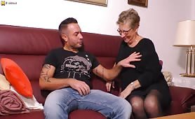 This German granny Angie has sex with a stud younger than her son
