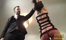 Handsome British skank Lilyan Red gagged and dommed by big cock