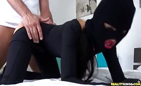 Sasha Rose sucks on the family jewels and then gets fucked relentlessly.