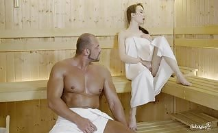Sweaty hard fuck at the sauna with attractive Russian babe Angel Rush