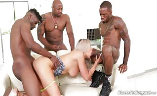 Nina Elle interracial gangbang with three blacks